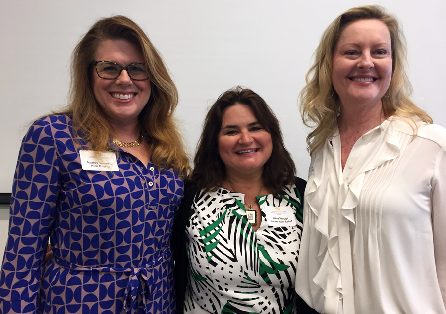 Nancy Gamble (L) and Leslie Curl (R) of Hire Profile with  IABC Atlanta luncheon speaker Dana Maggi (center)